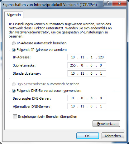 "Der ""Primary Server"" wird als ""Bevorzugter DNS-Server eingetragen, der ""Secondary Server"" als ""Alternativer DNS-Server"""